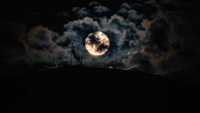 moonrise through the clouds