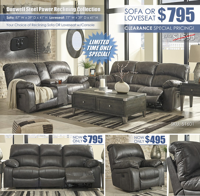 Dunwell Steel Reclining Sofa OR Loveseat_51601