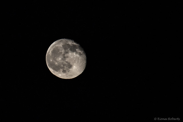 Waning gibbous moon rising over the valley