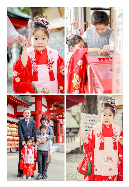 七五三 3歳の女の子 お兄ちゃんやおじいちゃま、おばあちゃまと記念写真