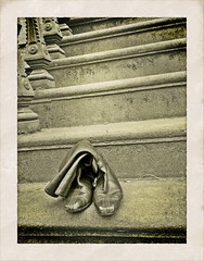 Boots on a stoop