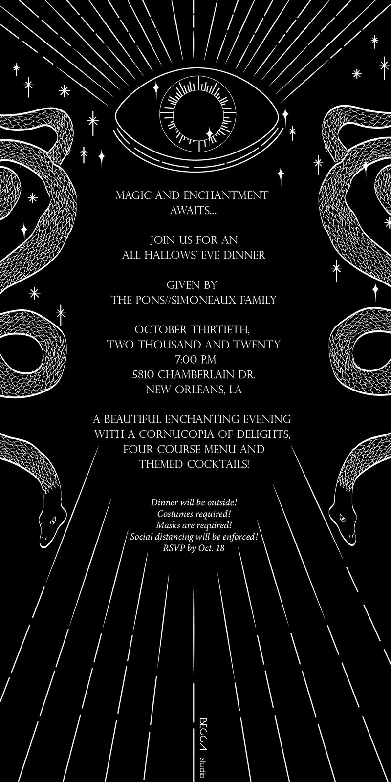 All Hallows' Eve Dinner Event Design, Print Invitation, Halloween Party Invitation, Halloween Dinner Invitation, Design, Invitation Design, Illustration, Print Design, Card Design, Art Deco Design, Art Noveau Design, Evil Eye Design, Evil Eye Illustration, Modern Design, Postcard Design, Illustrator, Designer,  BECCA, Becca Studio, becca studio, BECCA studio, Multimedia Design, Graphic Design, Branding, Web Development, Murals, Illustration, Art Direction, BECCA, Becca Studio, becca studio, New Orleans Design, Branding, Web Development, Illustration, Murals, Art Direction