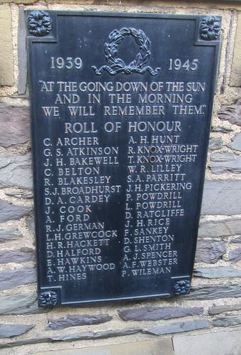 War Memorial, Ashby de la Zouch, World War 2 Names