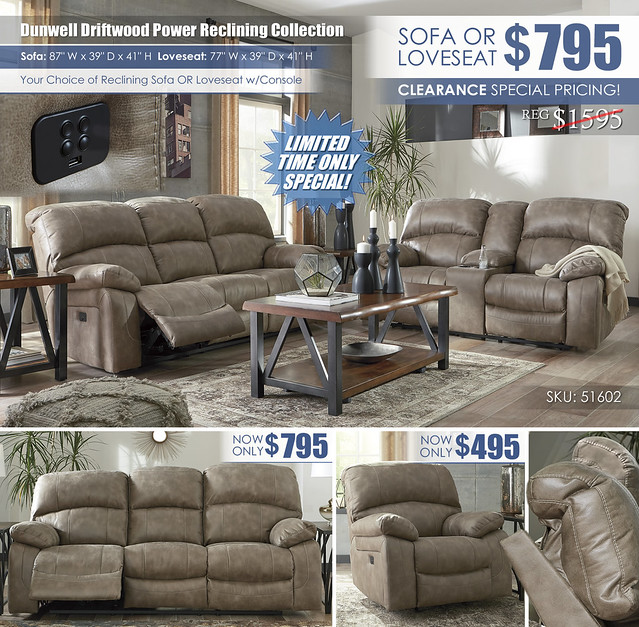 Dunwell Driftwood Reclining Sofa OR Loveseat_51602