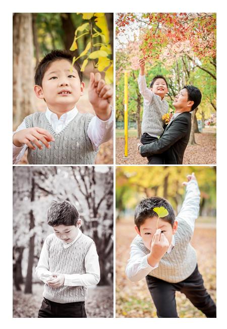 秋の公園 7歳の男の子 イチョウとモミジ