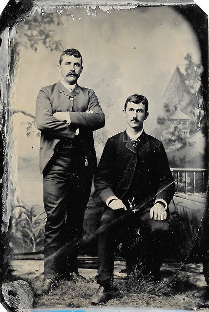 Tintype Of Two Victorian Gentlemen