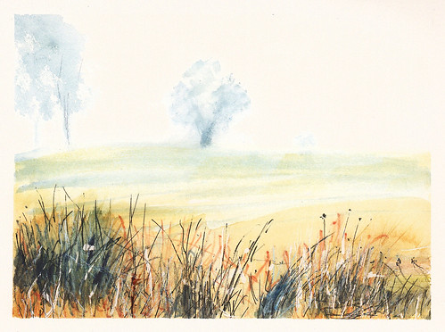 painting nature watercolor fog rural landscape trees