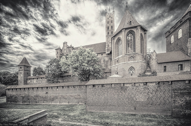 Malbork Castle: black and white of St. Ann's Chapel from the East Moat of Upper, Malbork, Poland. 336-Editbw
