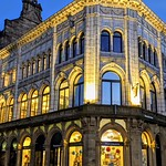 Illuminated Waterstones bookshop in Preston