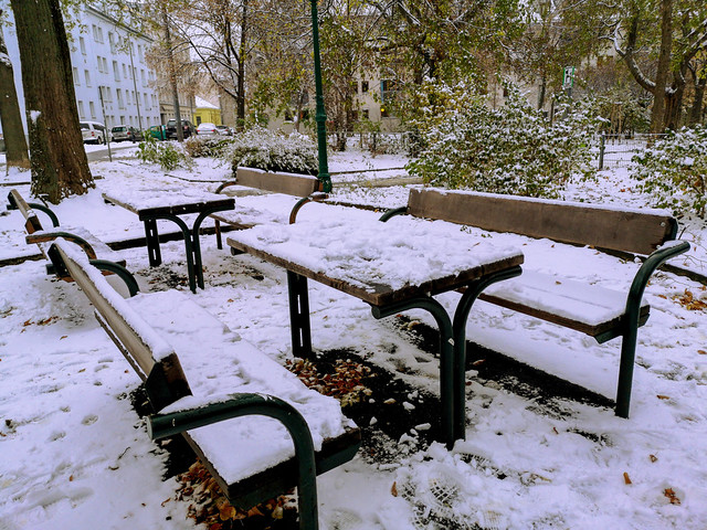 The cold picnic tables.