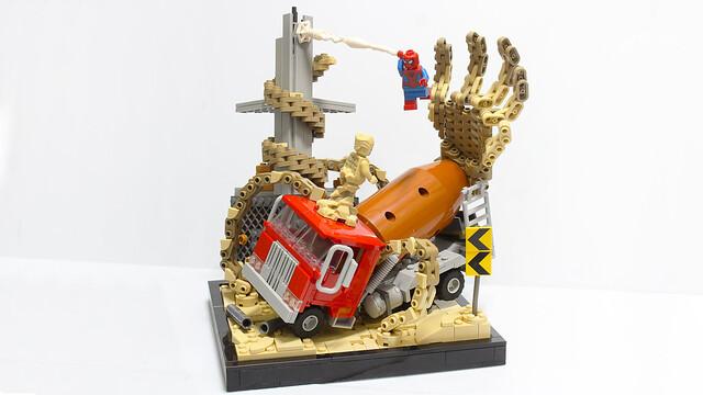 Lego Spiderman vs Sandman diorama