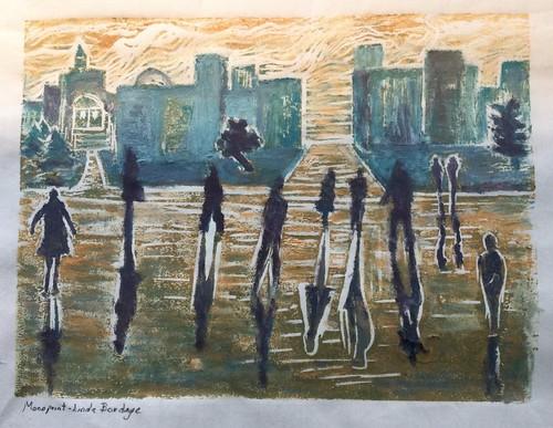 printmaking linocut urbanscene