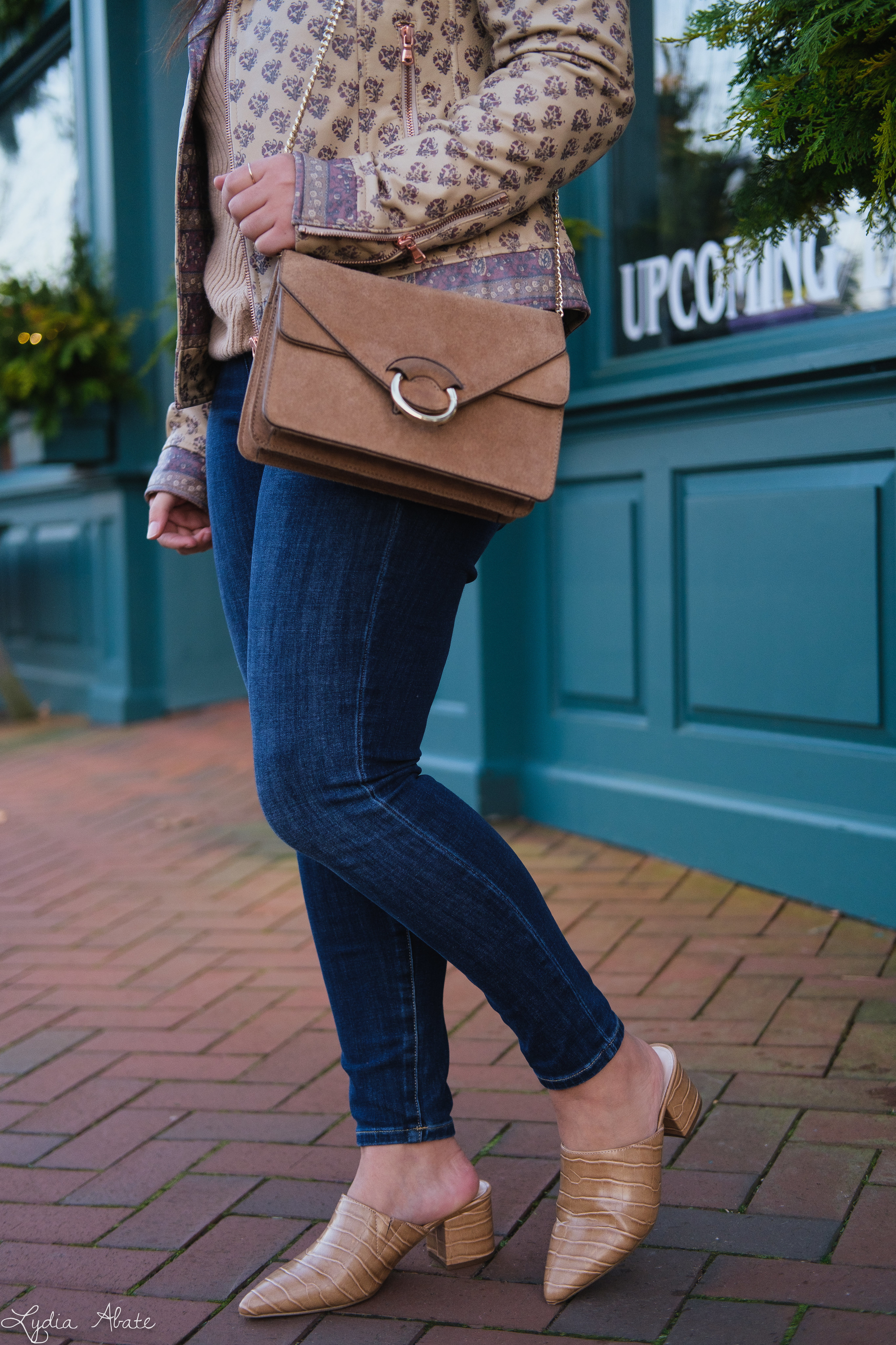 calypso printed leather jacket, camel sweater, jeans, croc mules, suede bag-12.jpg