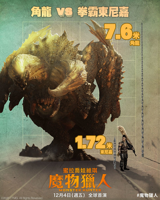 "The Movie posters & stills of US Movie ""《魔物獵人》(Monster Hunter)"" will be launching in Taiwan from Dec 4, 2020."