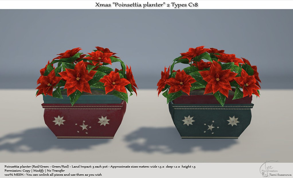 .:Tm:.Creation  Xmas Poinsettia planter 2 Types C18