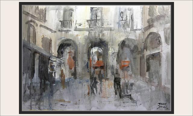 PLAÇA REIAL-BARCELONA-ART-PINTURA-PASSATGE MADOZ-CALLES-ARCOS-ARQUITECTURA-PAISAJES-ACUARELAS-ARTISTA-PINTOR-ERNEST DESCALS