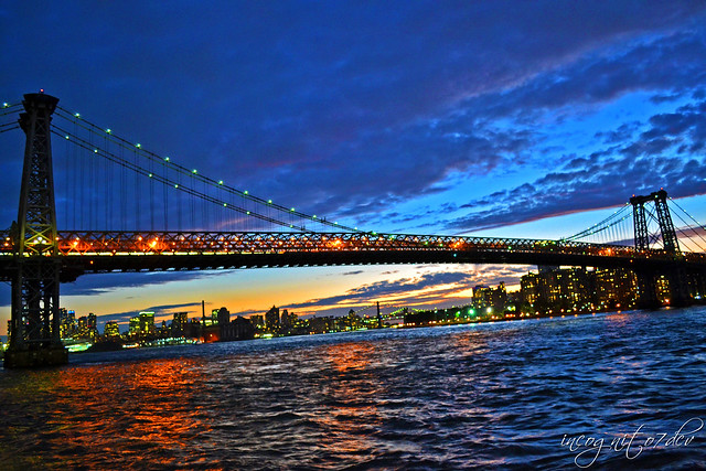 Williamsburg Bridge at Twilight from Domino Park Williamsburg Brooklyn New York City NY P00730 DSC_0484