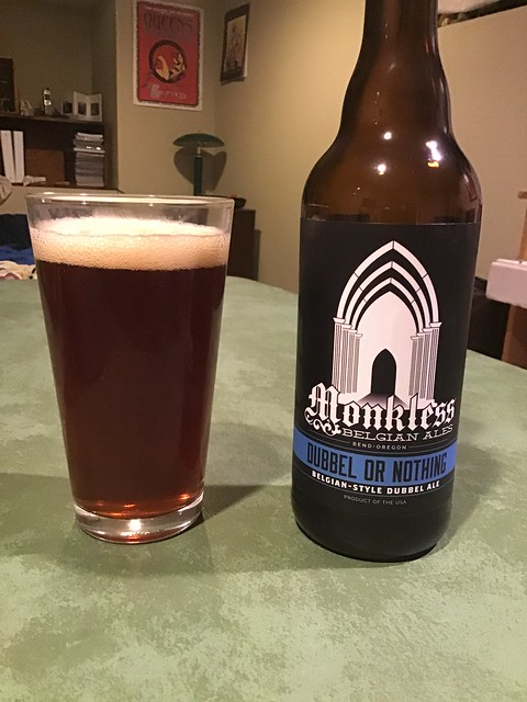 Monkless dubbel ale in glass on table