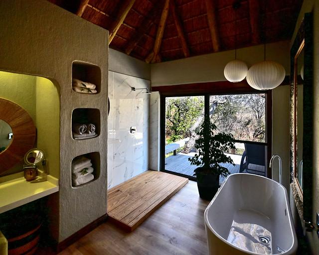 El baño de nuestro hotel en Sabi Sand