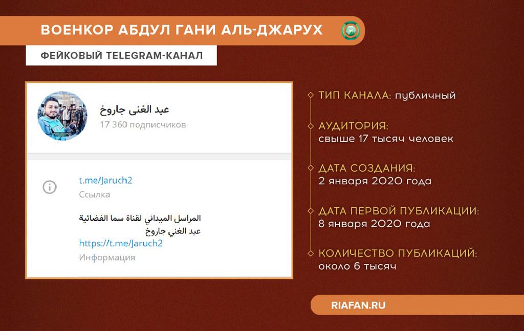 Fausse chaîne Telegram du journaliste Abdul Ghani Al-Jarouh en Syrie