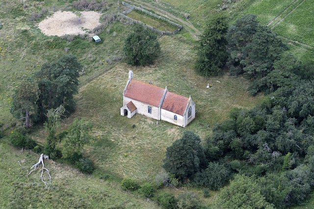 Langford aerial image - St Andrews abandoned Church in the STANTA battle area in Norfolk UK