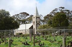 DSC_1941 Zion Lutheran Church looking across Henschke's Hill of Grace vineyard, Moculta, South Australia