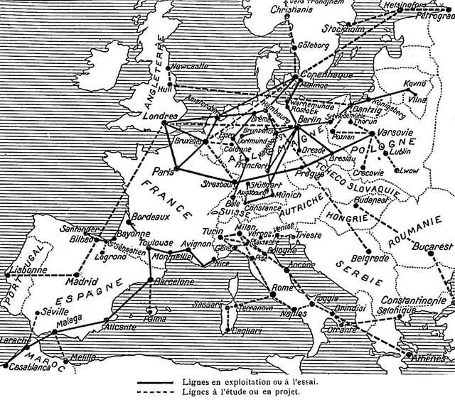 Carte trafic aérien Europe aviation marchande en 1921 Réseau des lignes aériennes en 1921