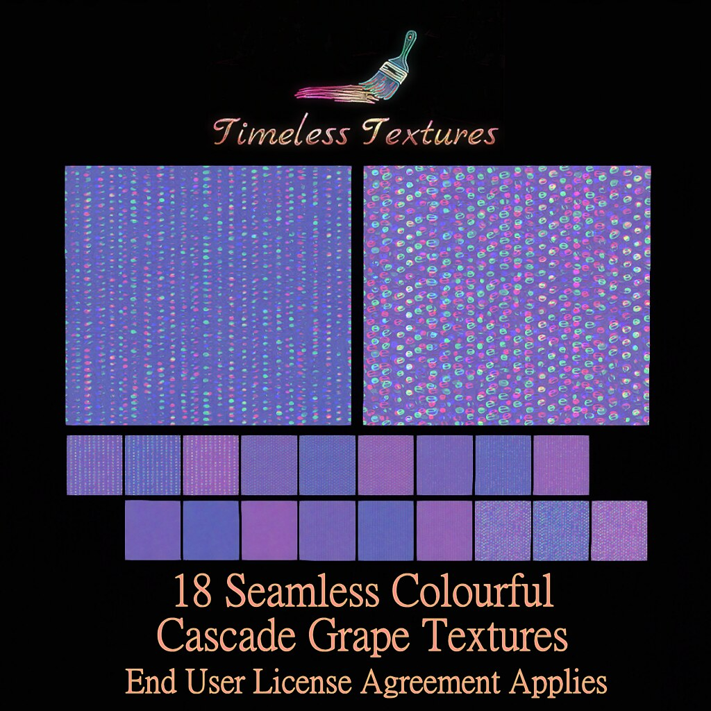 2020 Advent Gift Dec 4th – 18 Seamless Colourful Cascade Grape Timeless Textures ++
