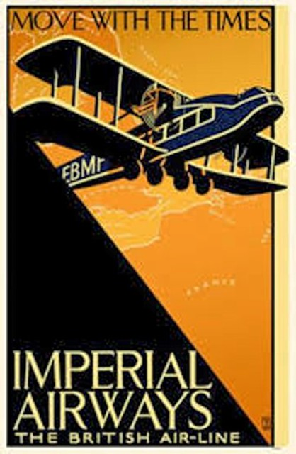Affiche poster move with the times aviation imperial airways the British airline air-line biplan biplane orange sky ciel
