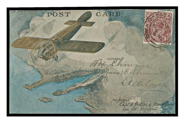 Carte postale post card monoplan en vol flying monoplane aircraft avion Australie Australia
