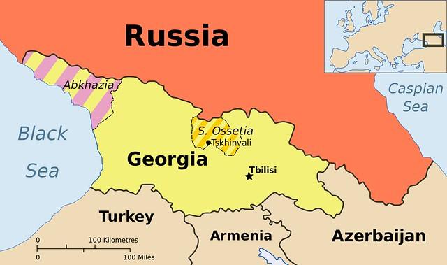 Mapa de Abjasia y Osetia del Sur dentro de Georgia