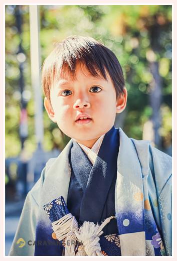 七五三 3歳の男の子 羽織袴に短刀をさして