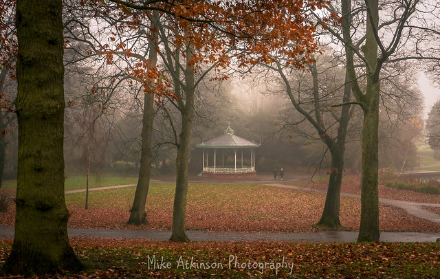 South Park Bandstand On A Foggy Autumn Morning.
