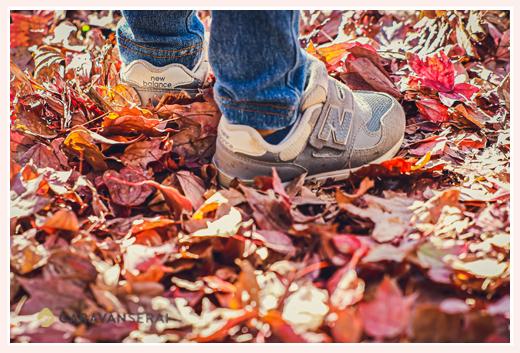 落ち葉のじゅうたんを歩く男の子 靴はニューバランスのスニーカー