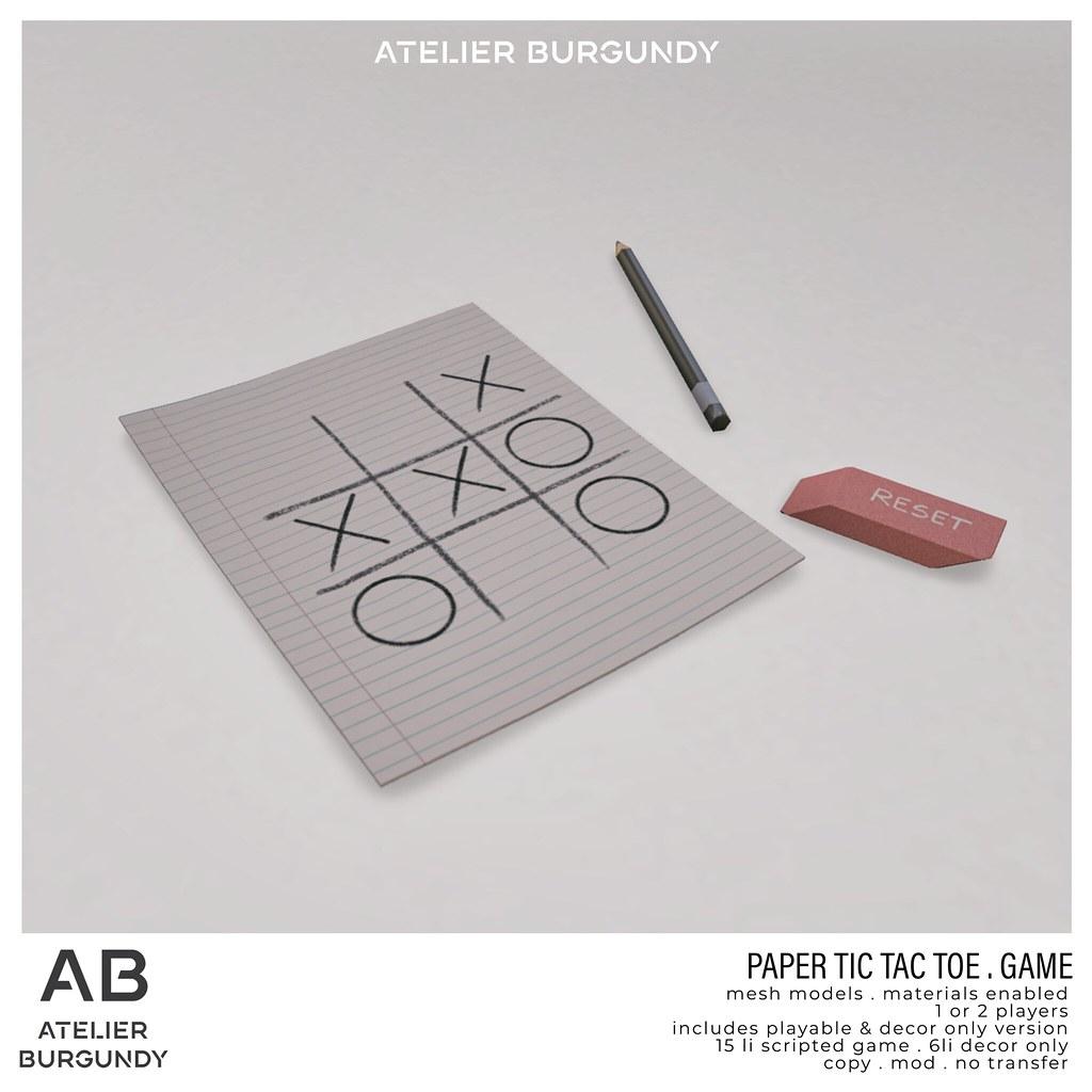 Atelier Burgundy . TicTacToe Paper