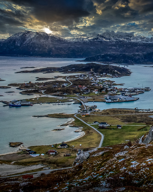 Village of Sommarøy from Hillesøy Norway