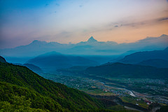 Magnificent view of the Annapurna mountain range from Sarangkot view point in the early morning