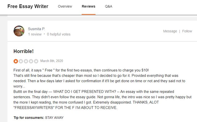 FreeEssayWriter review on SiteJabber