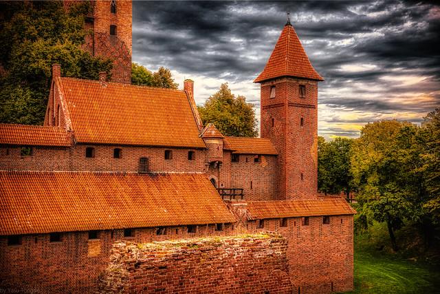 Malbork Castle: view of south-eastern side of  Upper castle, Malbork, Poland. 350-Edita