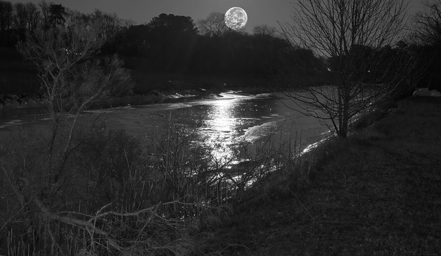Full Moon Shining on Frozen Creek
