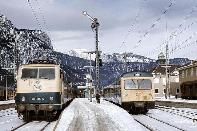 DB 111 005 + 628 011 Bf Garmisch-Partenkirchen 20.01.1979