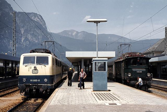 DB 111 003 + ÖBB 1145.09 Bf Garmisch-Partenkirchen 17.07.1978