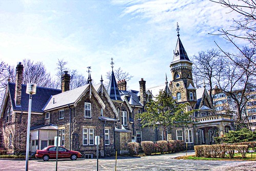 oaklands mansion de la salle college toronto on ontario canada historic historical house landmark heritage victorian castle gothic style architecture towers onasill rear view attraction tourist must see cyrus mccormick ih international harvester christian school catholic education sky tower