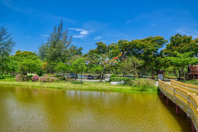 Lake and trees in Muang Boran (Ancient City) in Samut Phrakan near Bangkok, Thailand