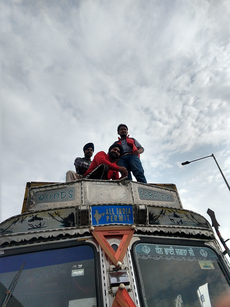 Sloganeering from atop at Shambhu, Punjab-Haryana border. on November 26 Image by Manu Moudgil