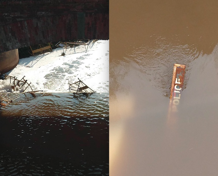 Barricades thrown in water by protesters at Shambhu, Punjab-Haryana border on November 26. Images by Manu Moudgil