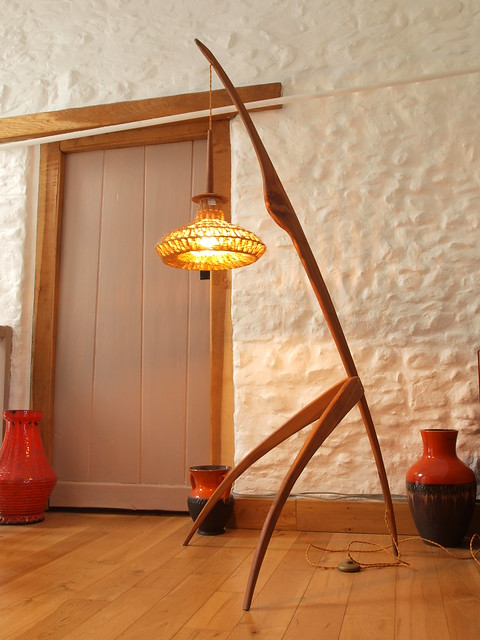 Bespoke  Cherry hanging floor lamp.