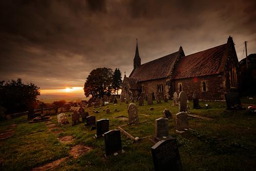 uk wales monmouthshire llanishen vale usk church sunset saint dennis