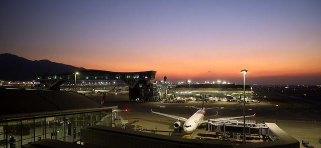 nice sunset over Hong Kong Chek Lap Kok International Airport