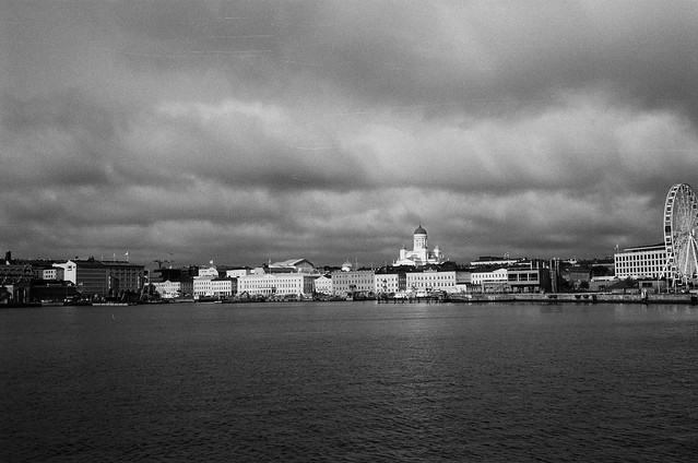 View of Helsinki main  harbor from soumenlinna ferry, late fall 2920